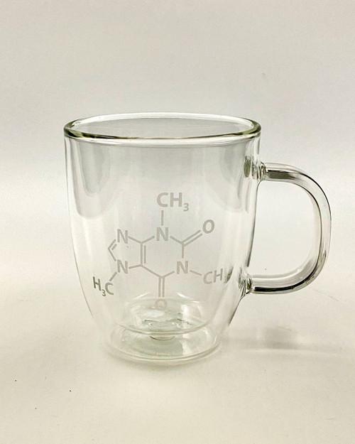 Double Wall Glass Mugs (pair)- Caffeine