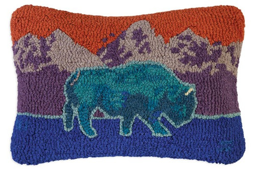 Blue Bison - Hooked Wool Pillow