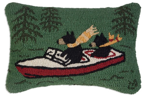 Boating Bears - Hooked Wool Pillow