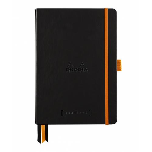 Rhodia Dot Grid Goalbook A5- Hardcover Black BRIGHT WHITE