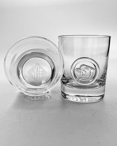Monogramed Buffalo Seal - Crystal Whisky Glass Pair