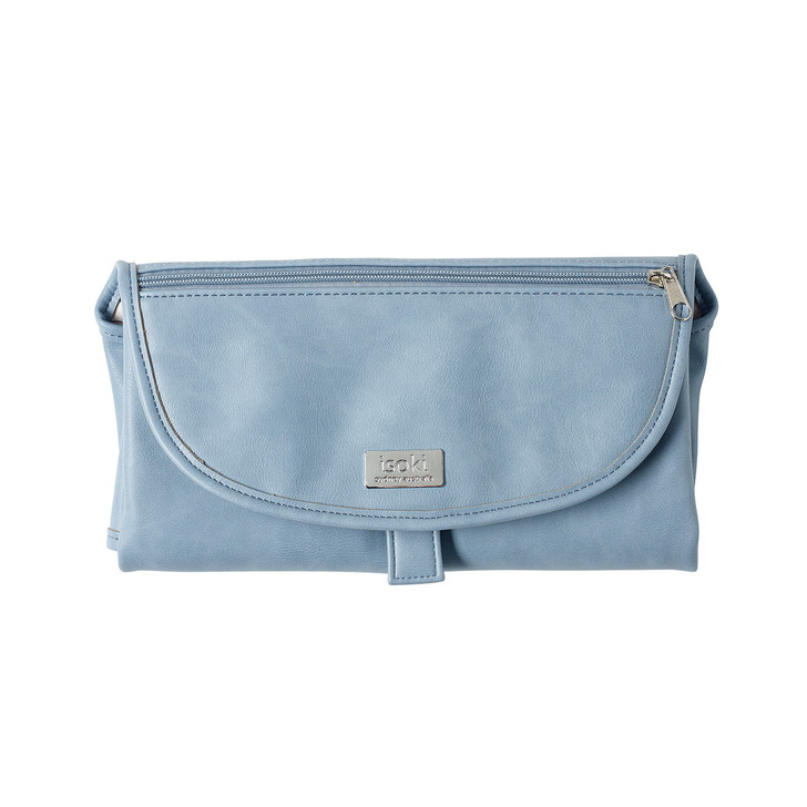 The Isoki Change Mat Clutch is a must have baby item. Folding up into a conveniently sized clutch is a large, easy wipe padded change mat with mesh storage pockets perfect for carrying nappies, baby wipes, cream and a change of clothes.