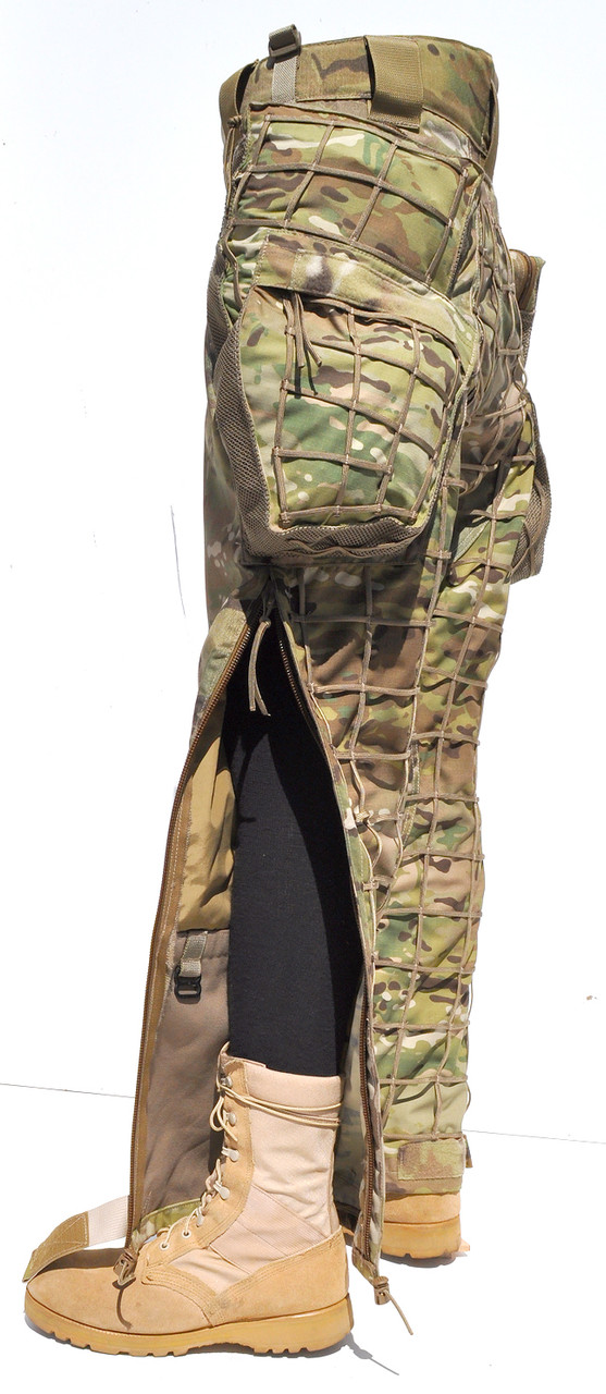 Side View HABU Trouser uses dual BK10 BA Zippers that extend from mid-thigh to to ankle opening