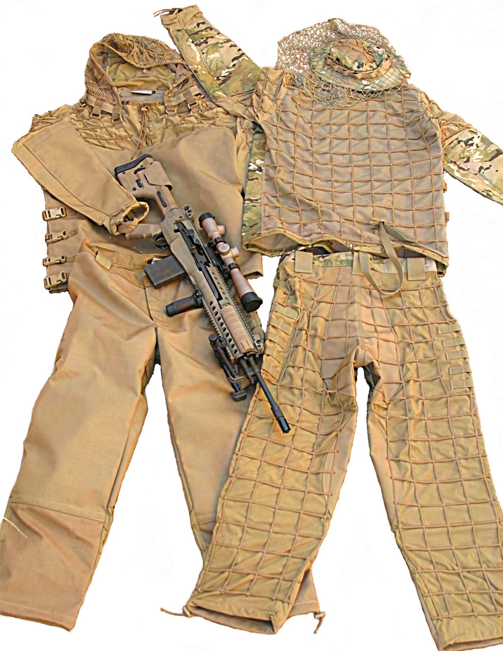 Front & Back view Tactical Concealment mamba Suit shown with optional Mamba attached hood and sniper boonie hat in display and rifle not included in sale.