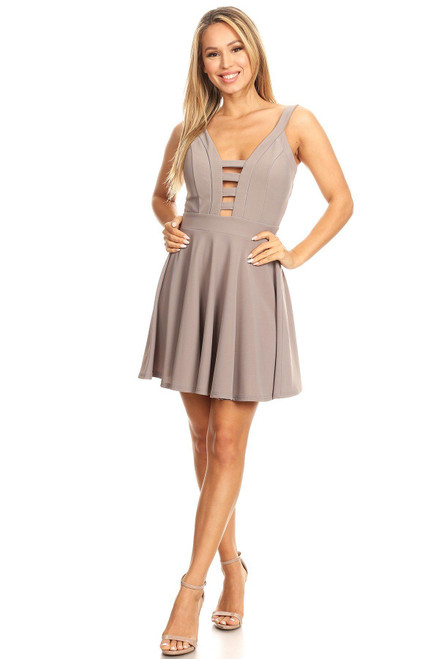 Solid Fit And Flare Dress With Back Zipper Closure, Cutouts, And Spaghetti Straps - TRA2.CD12008.id.40395e-L