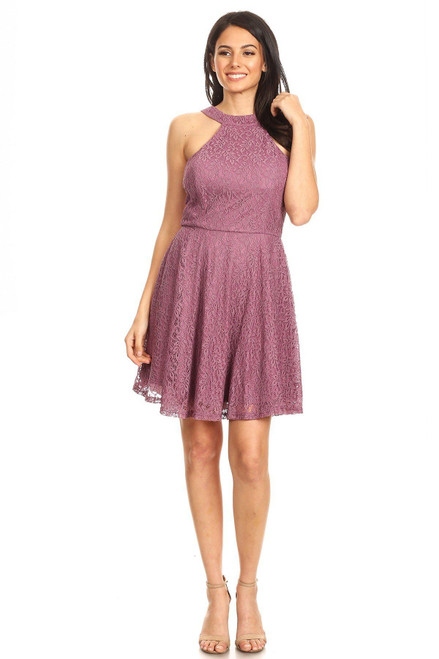Lace Sleeveless Dress With Halter Neckline And Back Zipper Closure - TRA2.CD53828.id.40392a-M