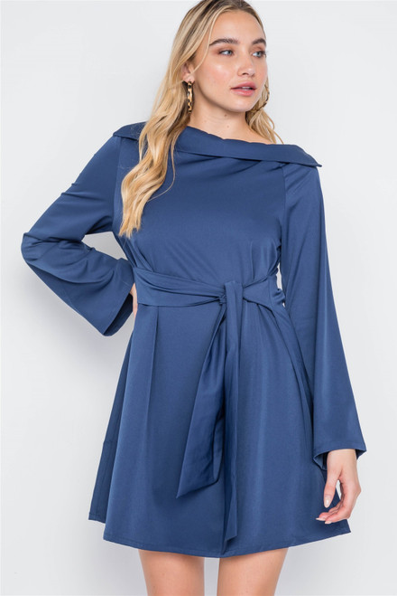 Straight Neck Solid Front-tie Dress - TSH2.LD41909.id.50826b-M