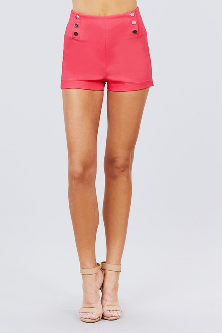 High Waist Button Detail Rolled Up Woven Short Pants - ACT2.P11386.id.51308c-L