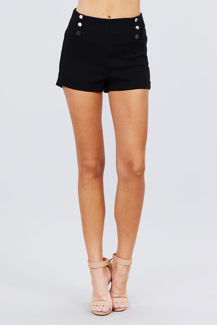 High Waist Button Detail Rolled Up Woven Short Pants - ACT2.P11386.id.51308-L