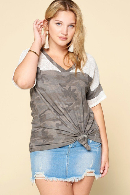 Camouflage Printed Loose-fit Knit Top - ODD2.T62895P.id.50843b-2XL