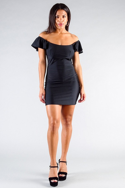 Convertible Off Shoulder Ruffle Sleeve Bodycon Mini Dress - CEF2.D9977.id.50848-L