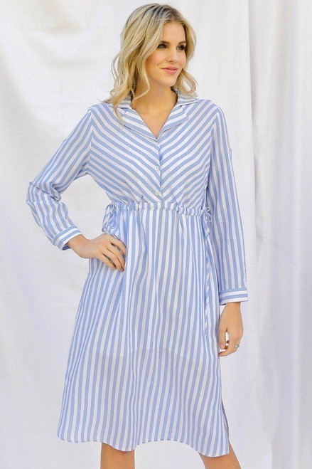 Stripe Print Cinched Waist Long Sleeve Shirt Midi Dress
