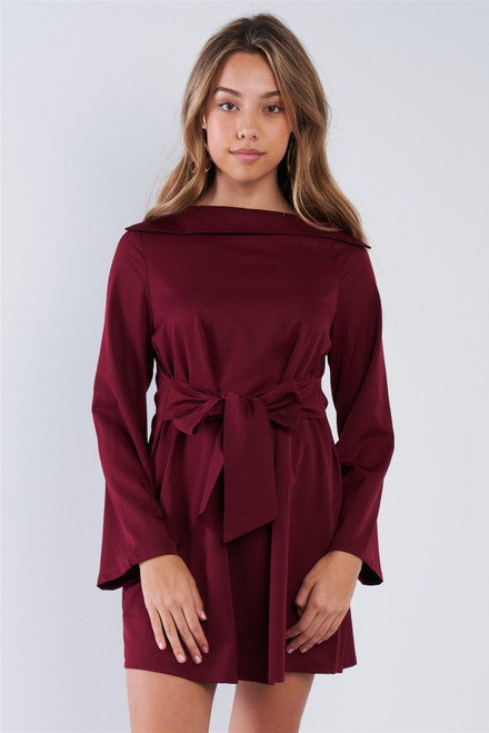 Straight Neck Solid Front-tie Dress - TSH2.LD41909.id.50826c-L