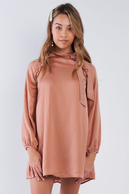 Satin Long Sleeve Side-tie Mini Dress - TSH2.LD41985.id.50827b-L
