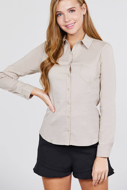 Long Sleeve Princess Line One Side Pocket Button Down Woven Shirts - ACT2.T10844.id.39238b-L