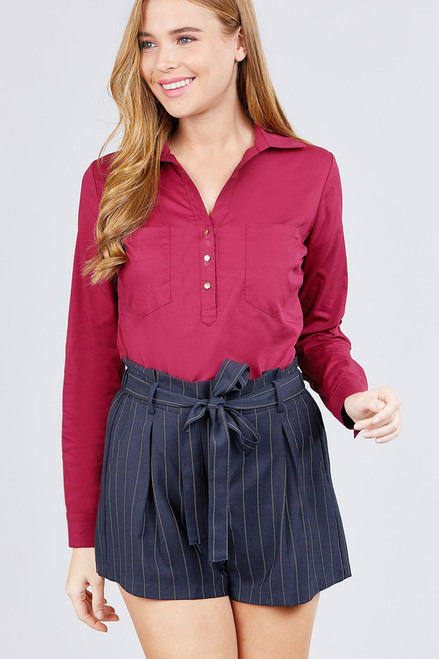 3/4 Roll Up Sleeve Front Two Pocket W/button Detail Stretch Shirt - ACT2.T10928.id.39237-L