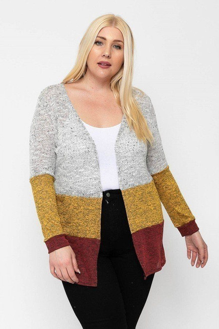 Color Block, Lightweight Cardigan -