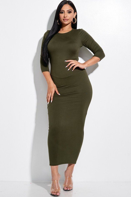 Solid 3/4 Sleeve Midi Dress With Back Cut Out - MIS2.C3937.id.53330b-L