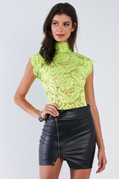 Lace Collared Short Sleeve Corset Back Sexy Bodysuit - TSH2.C2047.id.51434-L