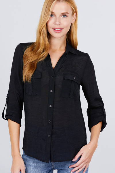 3/4 Roll Up Sleeve With Pocket Woven Shirts - ACT2.T11897.id.52005-L