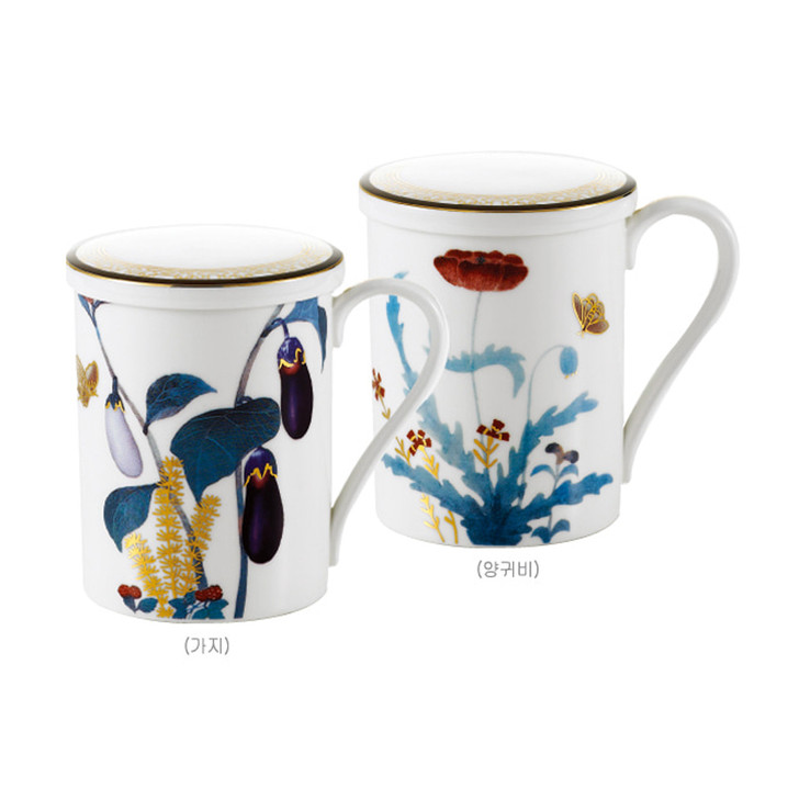[Cho Choong Do] Mug with Cover (Eggplant,Poppies) 2 Sets--4 Piece