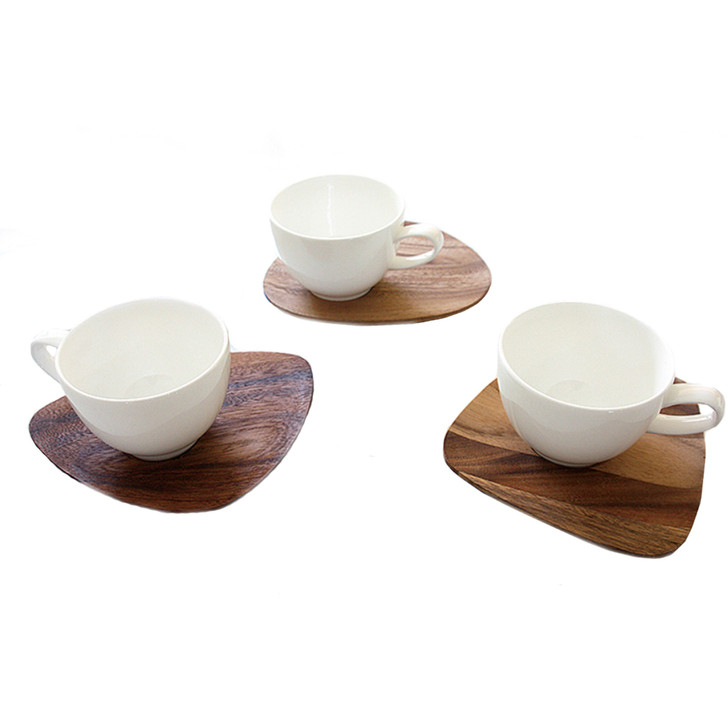[Twig New York] Acacia Wooden Saucer with Bone China Cup