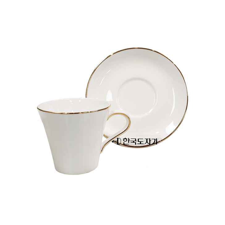 Bright Gold Edge Espresso Cup & Saucer