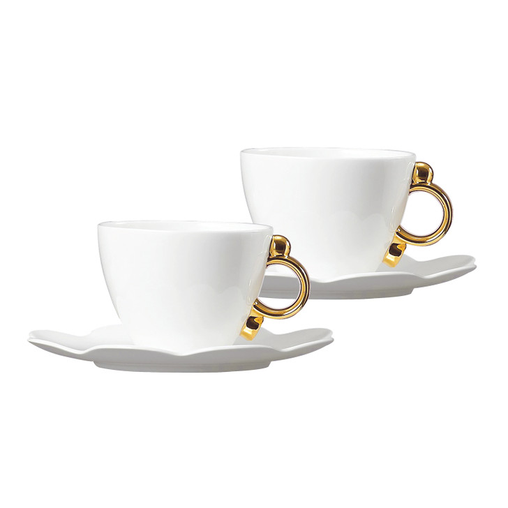 [Prouna] Geometrica Gold Rim Coffee Cup & Saucer Set for 2