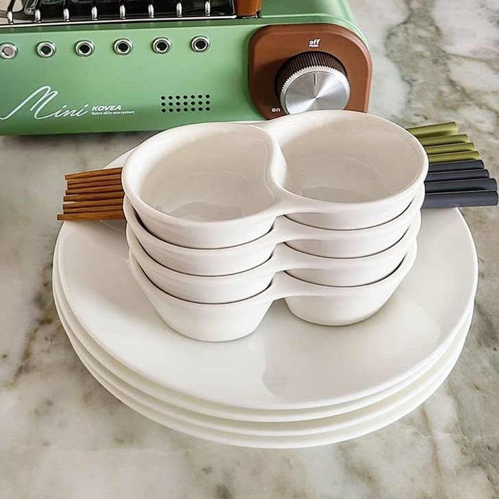 """5"""" Two Compartments Sauce Dish (Set of 4)"""