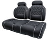 Luxury Exclusive Golf Cart Seat With High Backs Headrest (shown with Optional Center Stitching and Piping) Cool Touch Fabric