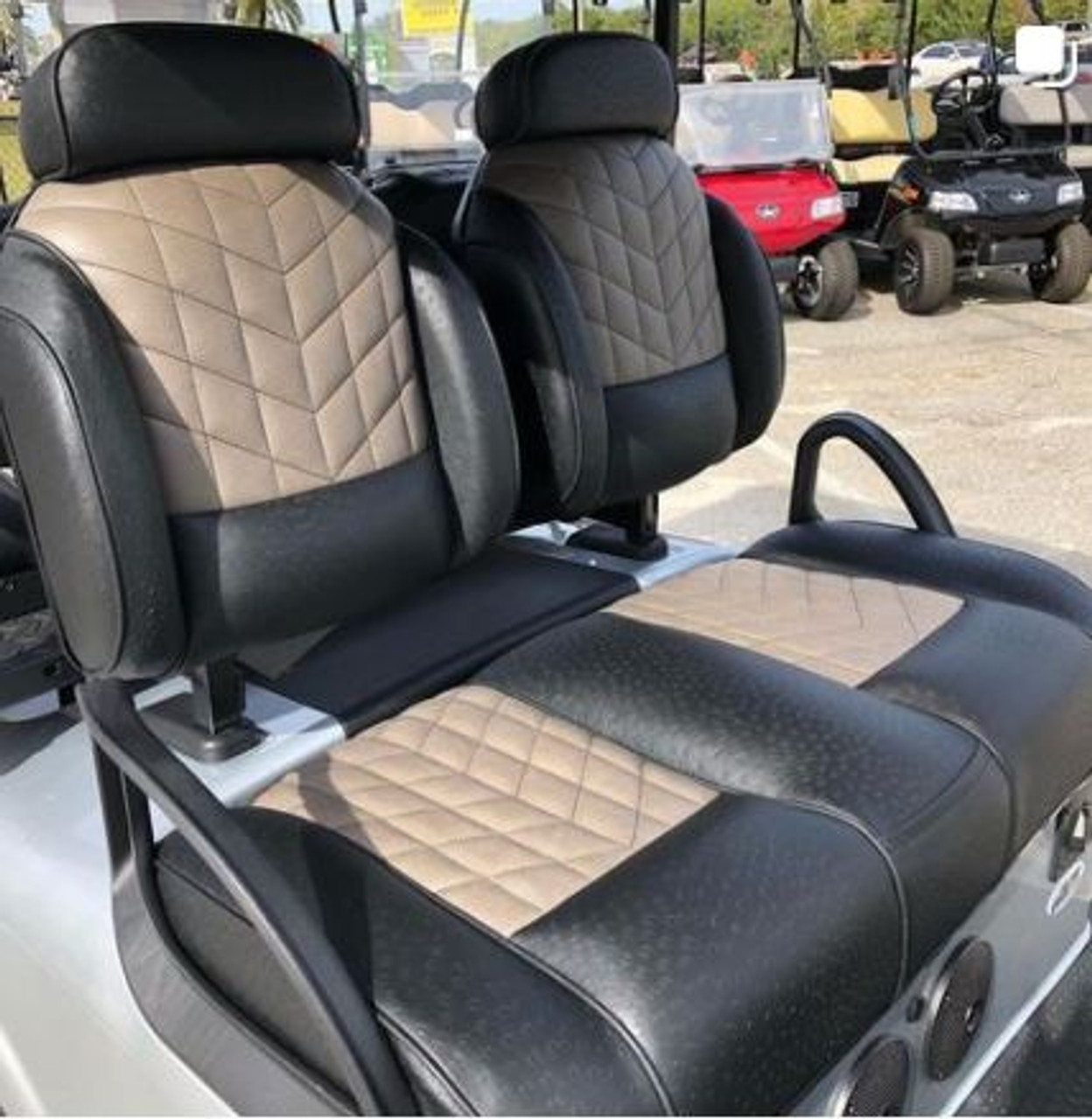 Luxury Exclusive Golf Cart Seat With High Backs Headrest (shown with Optional  Velocity Center Stitching and Piping)