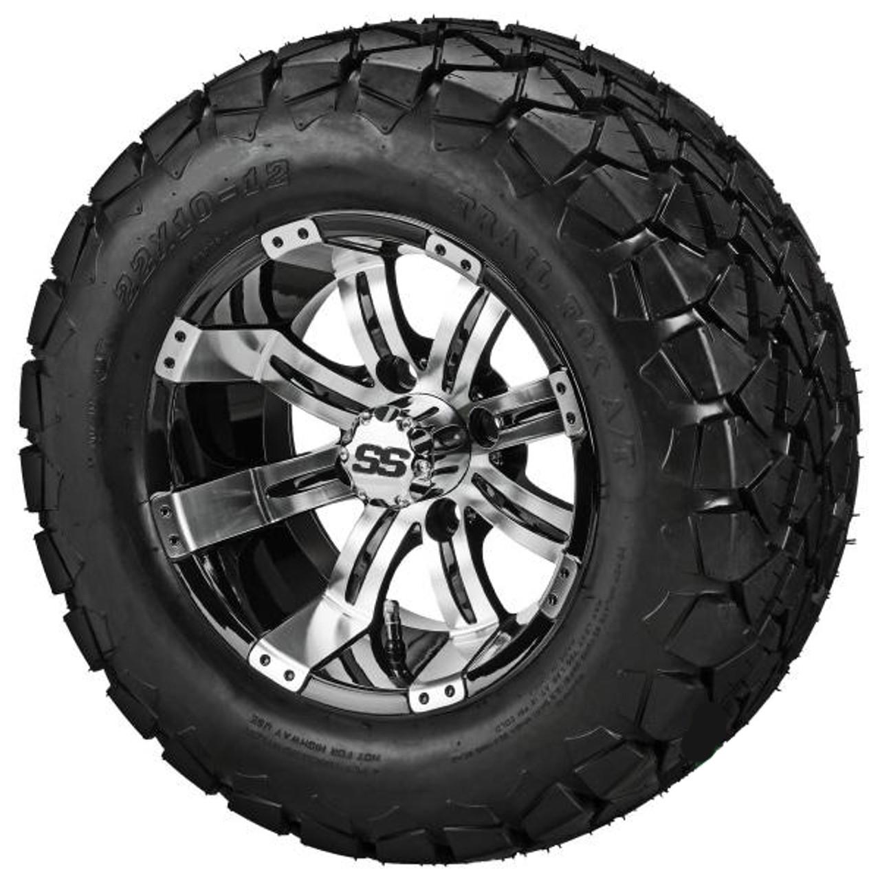 LSI 12X7  Black/Machined Casino Wheel w/22X10.00-12 Trail Fox A/T Tires