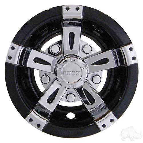 """Golf Cart Wheel Cover, 8"""" Vegas Chrome/Black standard 8"""" wheels"""