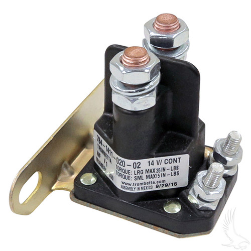 Solenoid, 14V 4 Terminal Silver, E-Z-Go Medalist/TXT 4-cycle Gas 94+