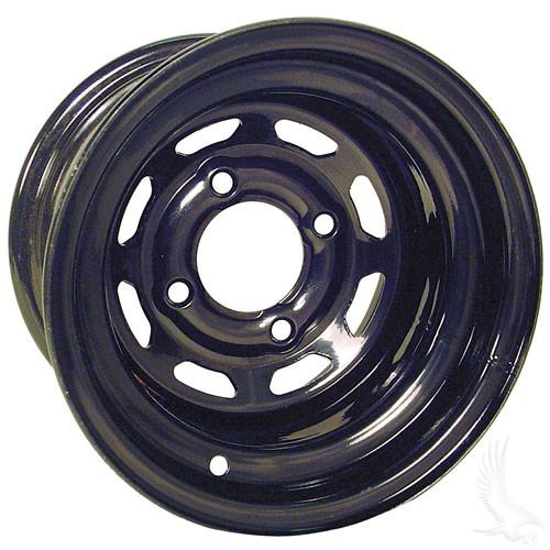 "Steel, Black 8 Window, 10x7 3:4 offset Standard 8"" Golf Cart Wheel"