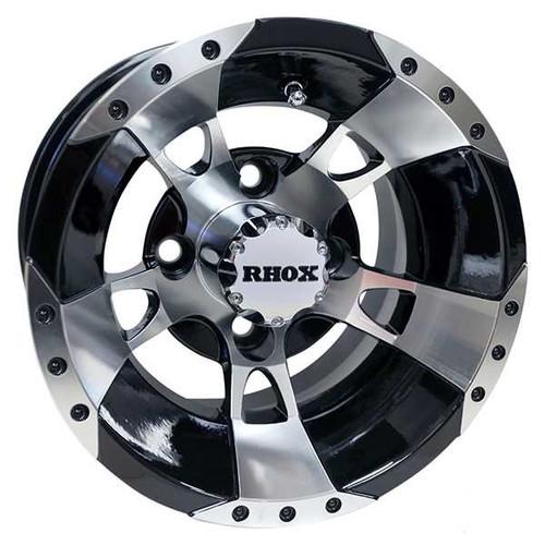 RHOX RX190, Machined w/Black w/ Center Cap, 10x7 ET-25