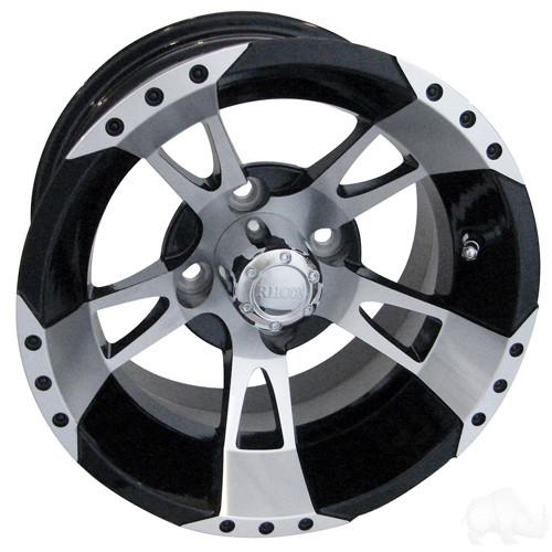 RHOX RX200, Machined w/Black w/ Center Cap, 12x6 ET-0