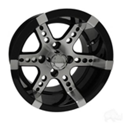 RHOX RX250, Machined w/ Black w/ Center Cap, 12x7 ET-25