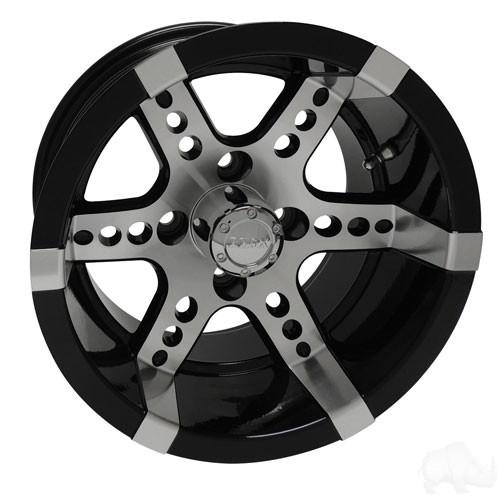 RHOX RX260, Machined w/ Black w/ Center Cap, 14x7 ET-25
