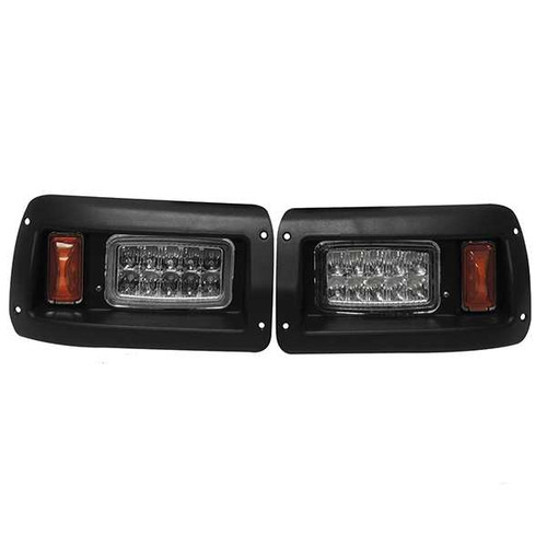 Super Bright LED Adjustable Headlights with Bezels, Club Car DS 93+