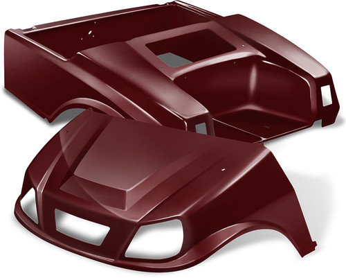 Club Car DS Spartan Golf Cart Body Kit in Metallic Burgundy