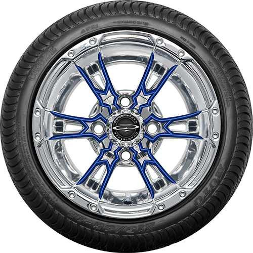 "Doubletake 12"" Wicked 57 Series Street Chrome with Blue Set of 4"