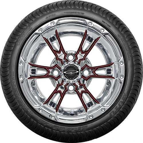"Doubletake 12"" Wicked 57 Series Street Chrome with Burgundy Set of 4"