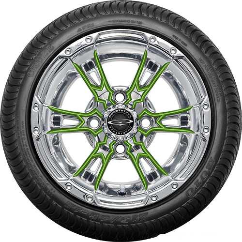 "Doubletake 12"" Wicked 57 Series Street Chrome with Lime Set of 4"