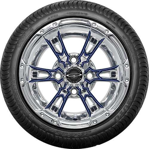 "Doubletake 12"" Wicked 57 Series Street Chrome with Navy Set of 4"
