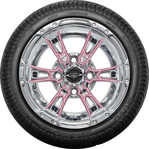 "Doubletake 12"" Wicked 57 Series Street Chrome with Pink Set of 4"