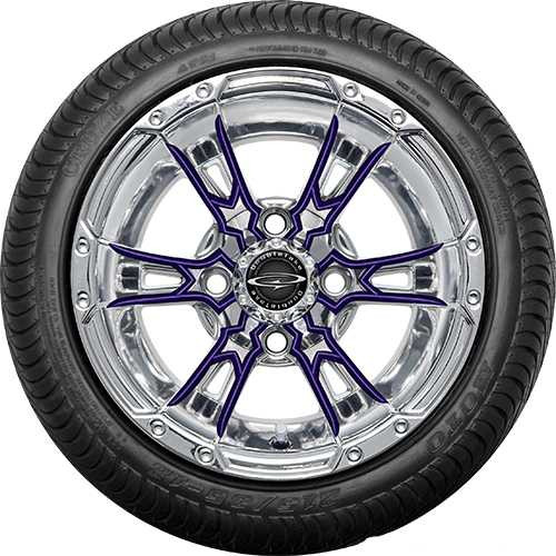 "Doubletake 12"" Wicked 57 Series Street Chrome with Purple Set of 4"
