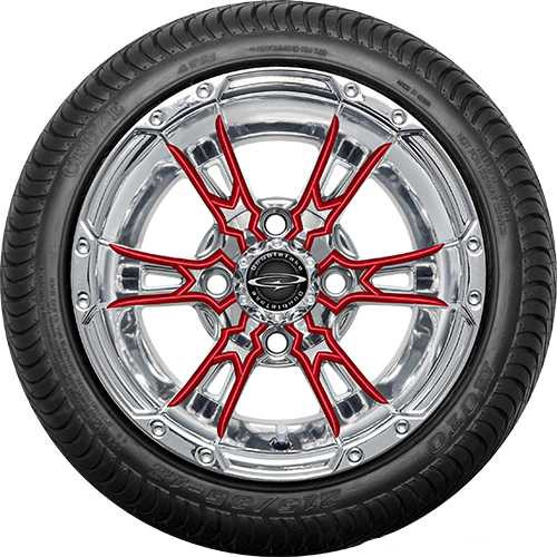 "Doubletake 12"" Wicked 57 Series Street Chrome with Red Set of 4"