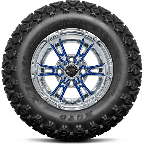 """Doubletake 12"""" Wicked 57 Series All Terrain Chrome with Blue Set of 4"""