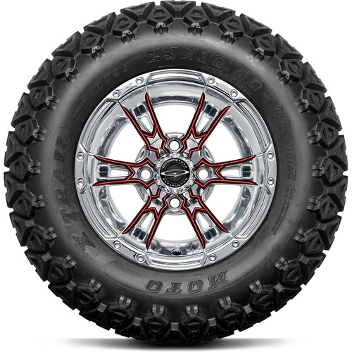 "Doubletake 12"" Wicked 57 Series All Terrain Chrome with Burgundy Set of 4"
